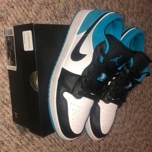 Black/ laser blue/ white air Jordan 1 lows